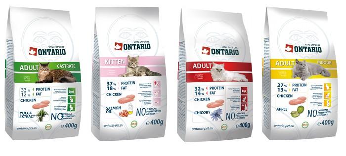 Упаковки корма Ontario для кошек