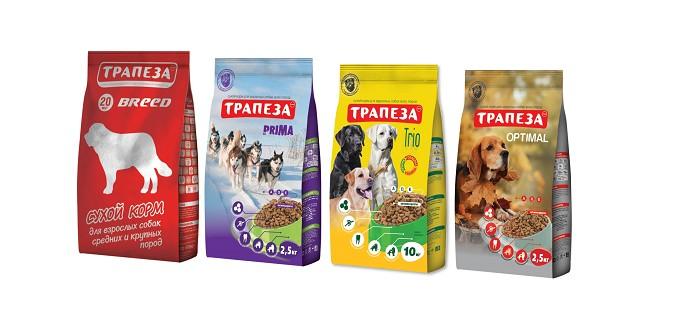 Упаковки корма для собак Трапеза