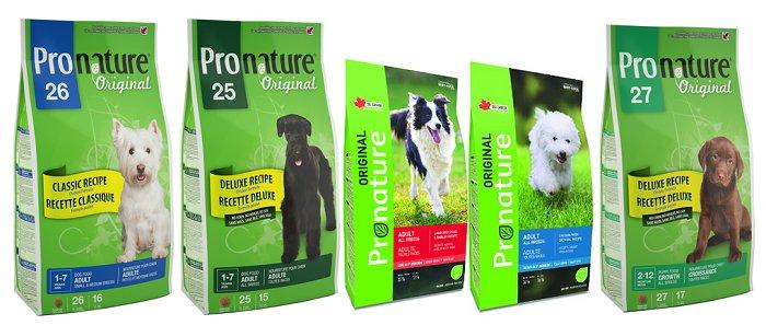 Упаковки корма Pronature original для собак