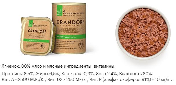 Влажный корм Grandorf ягненок (Для взрослых собак от 1 года)